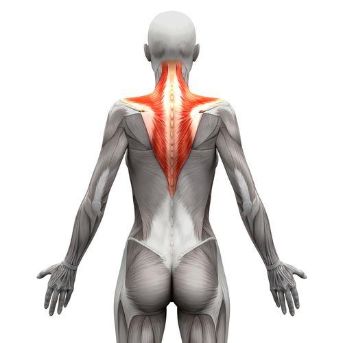 gespannen nek- en schouderspieren